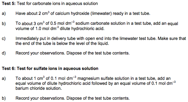 6 Required Practical 4 Test Tube Reactions To Identify