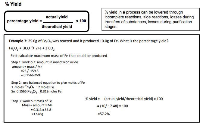 5 Percentage yield and atom economy |