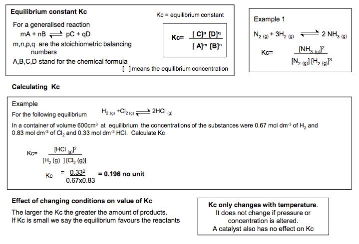 3 Equilibrium constant Kc  