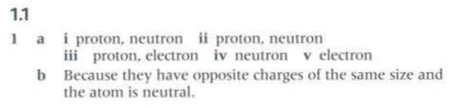 a<br /> b<br /> i proton. neutron ii proton. neutron<br /> iii proton, electron iv neutron v electron<br /> Because they have opposite charges of the same size and<br /> the atom h neutral.