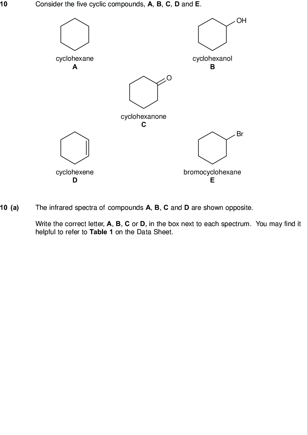 consider the five cyclic compounds a b c d and e do not write outside the box cyclohexane cyclohexanol cyclohexanone oh br cyclohexene bromocyclohexane a the infrared spectra of compounds a b c and d are shown opposite write the correct letter a b c or d in the box next to each spectrum you may find it helpful to refer to table on the data sheet wmp jan chem do not write outside the box a i transmittance wavenumber cm mark a ii transmittance wavenumber cm mark a iii transmittance a iv transmittance wavenumber cm mark wavenumber cm question continues on the next page mark turn over wmp jan chem do not write outside the box b a simple chemical test can be used to distinguish between cyclohexane a and cyclohexene d give a reagent for this test and state what you would observe with each compound marks extra space c cyclohexanol b can be converted into cyclohexanone c give a reagent or combination of reagents that can be used for this reaction and state the type of reaction state the class of alcohols to which cyclohexanol belongs marks extra space wmp jan chem d cyclohexane a can be converted into bromocyclohexane e by a reaction that is similar to the reaction of methane either with chlorine or with bromine do not write outside the box name and outline a mechanism for the reaction of methane ch with bromine to form bromomethane ch br give one condition for this reaction to occur write an equation for each step in your mechanism marks extra space end of questions wmp jan chem