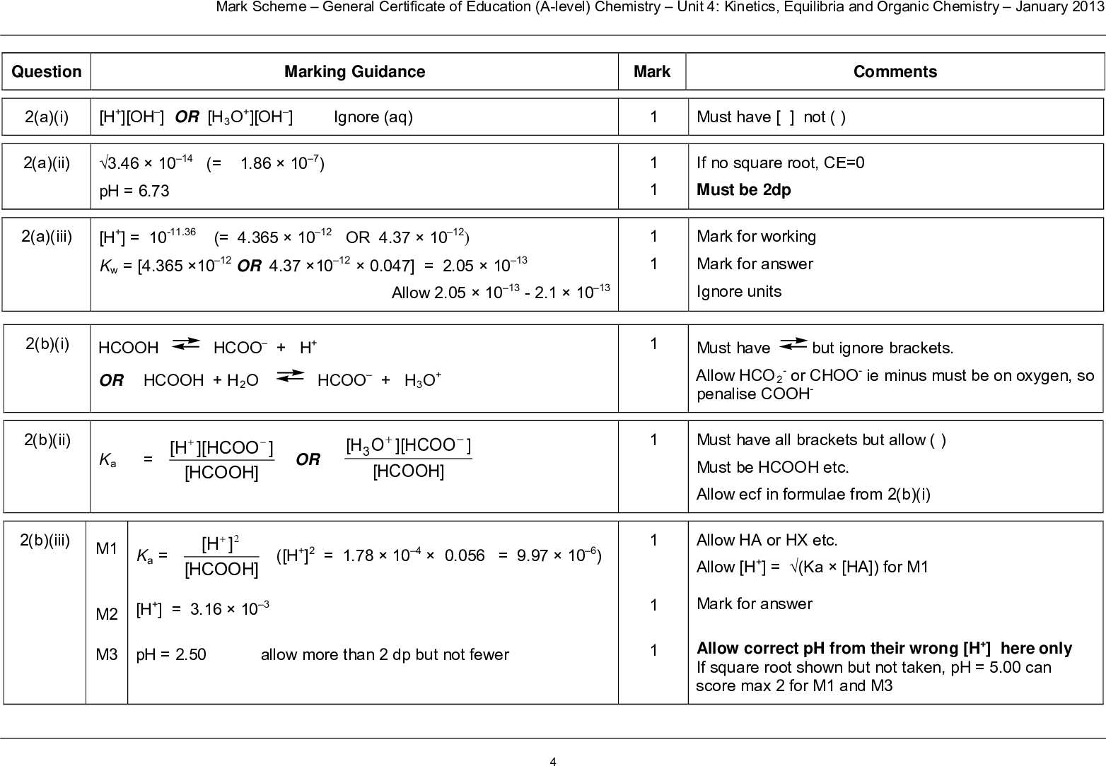 mark scheme general certificate of education a level chemistry unit kinetics equilibria and organic chemistry january question a i a ii marking guidance h oh or h o oh ignore aq ph mark comments must have not if no square root ce must be dp mark for working mark for answer ignore units must have allow hco penalise cooh but ignore brackets or choo ie minus must be on oxygen so must have all brackets but allow must be hcooh etc allow ecf in formulae from b i allow ha or hx etc allow h ka ha for m mark for answer allow correct ph from their wrong h here only if square root shown but not taken ph can score max for m and m a iii h or kw or allow b i hcooh or hcooh h o hcoo h hcoo h o b ii ka hcoo h hcooh or o h hcoo hcooh b iii m ka h hcooh h m h m ph allow more than dp but not fewer b iv m m m c i m m m c ii m m m m mark scheme general certificate of education a level chemistry unit kinetics equilibria and organic chemistry january mark m independently decrease equm shifts moves to rhs or more h or ka increases or more dissociation to reduce temperature or oppose increase change in temperature h ka x x hx or ph pka log hx x x or ph log ph allow more than dp but not fewer mol h added mol hcooh and mol hcoo h ka x x hx x or ph log ph allow more than dp but not fewer only award m following correct m if hx x upside down no marks ph calc not allowed from their wrong h here mark on from ae in moles of hcl eg x gives ph scores if either wrong no further marks except ae or if ecf in mol acid and or mol salt from c i can score all if hx x upside down here after correct expression in c i no further marks if hx x upside down here and is repeat error from c i max ph after in c i ph calc not allowed from their wrong h here