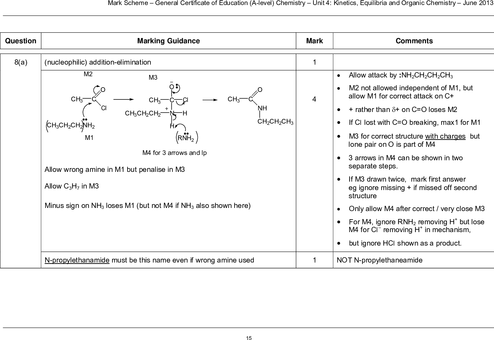 question mark scheme general certificate of education a level chemistry unit kinetics equilibria and organic chemistry june marking guidance mark comments a nucleophilic addition elimination m ch c cl ch ch ch nh m m o ch c n h ch ch ch cl rnh ch c nh ch ch ch m for arrows and lp allow wrong amine in m but penalise in m allow c h in m minus sign on nh loses m but not m if nh also shown here allow attack by nh ch ch ch m not allowed independent of m but allow m for correct attack on c rather than on c o loses m if cl lost with c o breaking max for m m for correct structure with charges but lone pair on o is part of m arrows in m can be shown in two separate steps if m drawn twice mark first answer eg ignore missing if missed off second structure only allow m after correct very close m for m ignore rnh removing h but lose m for cl removing h in mechanism but ignore hcl shown as a product n propylethanamide must be this name even if wrong amine used not n propylethaneamide mark scheme general certificate of education a level chemistry unit kinetics equilibria and organic chemistry june b i h c ch ch primary nh not allow ambiguous c h nh beware no mark for the original amine ch ch ch nh h c n h ch ch secondary allow c h h c n ch ch tertiary b ii absorption at cm in spectrum n h bond only present in secondary amine or not present in tertiary amine or this peak or n h absorption only present in spectrum of secondary amine or not present in spectrum of tertiary amine label and structure must both be correct for each type to score the mark penalize wrong number of carbons but otherwise correct first time only allow trough peak spike ignore absorption at for c c bond in secondary this is within fingerprint region allow any number in this range if range missing no further marks if range linked to tertiary no further marks mark scheme general certificate of education a level chemistry unit kinetics equilibria and organic chemistry june c i m route a stage kcn m m aqueous or et
