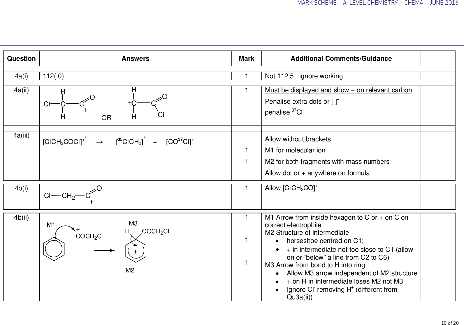 answers mark additional comments guidance question a i a ii cl h c h or h c h cl a iii b i b ii clch cocl clch co cl cl ch m coch cl m h coch cl m mark scheme a level chemistry chem june not ignore working must be displayed and show on relevant carbon penalise extra dots or penalise cl allow without brackets m for molecular ion m for both fragments with mass numbers allow dot or anywhere on formula allow clch co m arrow from inside hexagon to c or on c on correct electrophile m structure of intermediate horseshoe centred on c in intermediate not too close to c allow on or below a line from c to c m arrow from bond to h into ring allow m arrow independent of m structure on h in intermediate loses m not m ignore cl removing h different from qu a ii of c d i water reag ent aqueous silver nitrate no reaction steamy misty white fumes no reaction or slow formation of ppt white precipitate immediately formed naoh followed by acidified silver nitrate no reaction or slow formation of ppt white precipitate immediately formed water named indicator no colour change nvc nvc indicator turns to correct acid colour fruity or sweet smell or misty fumes fizzing or effervescence not just gas produced mark scheme a level chemistry chem june named alcohol na co or nahco ammonia o ch c o or ch or ch one unit only must have trailing bonds ignore n and brackets allow o ch co d ii h c e i ch ch ch ch allow co for c o one unit only must have trailing bonds ignore n and brackets no reaction do not award no observation white smoke of mark scheme a level chemistry chem june pga sutures react dissolve break down are biodegradable are hydrolysed attacked by water or nucleophiles no need to remove ester links have polar bonds answers h n o c ch c h n h h c h c o or o c h c ch n h h c h h n c o h c h o c n h n h c o h c h o c h n h c ch h n ch c h c o or polypropene not biodegradeable not hydrolysed not attacked by water nucleophiles polypropene contains non polar bonds ignore intermolecular forces id details mark additional comments guidance only one molecule of each used m for amide links m ch and ch ch allow mark after one error dipeptide max treat both trailing bonds missing as one error ignore n of e ii total question a i