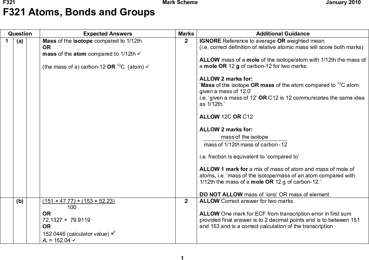 F321 F321 Atoms, Bonds and Groups Mark Scheme January 2010 Question 1 (a) Mass of the isotope compared to 1/12th Expected Answers OR mass of the atom compared to 1/12th (cid:57) (the mass of a) carbon-12 OR 12C (atom) (cid:57) (15147.77) + (15352.23) 100 OR 72.1327 + 79.9119 OR 152.0446 (calculator value) (cid:57) Ar = 152.04 (cid:57) (b) Additional Guidance IGNORE Reference to average OR weighted mean (i.e. correct definition of relative atomic mass will score both marks) ALLOW mass of a mole of the isotope/atom with 1/12th the mass of a mole OR 12 g of carbon-12 for two marks. ALLOW 2 marks for: Mass of the isotope OR mass of the atom compared to 12C atom given a mass of 12.0 i.e. given a mass of 12 OR C12 is 12 communicates the same idea as 1/12th. ALLOW 12C OR C12 ALLOW 2 marks for: the of mass isotope of mass 1/12th of mass carbon 12- i.e. fraction is equivalent to compared to ALLOW 1 mark for a mix of mass of atom and mass of mole of atoms, i.e. mass of the isotope/mass of an atom compared with 1/12th the mass of a mole OR 12 g of carbon-12. DO NOT ALLOW mass of ions OR mass of element ALLOW Correct answer for two marks ALLOW One mark for ECF from transcription error in first sum provided final answer is to 2 decimal points and is to between 151 and 153 and is a correct calculation of the transcription Marks<br />  F321 Mark Scheme January 2010 Question (c) (i) (ii) Expected Answers 153Eu has (2) more neutrons OR 153Eu has 90 neutrons AND 151Eu has 88 neutrons (cid:57) (It has the) same number of protons AND electrons OR Both have 63 protons and 63 electrons (cid:57) Marks Additional Guidance ALLOW There are a different number of neutrons IGNORE Correct references to protons / electrons DO NOT ALLOW Incorrect references to protons / electrons ALLOW Same number of protons AND same electron configuration DO NOT ALLOW Same number of protons without reference to electrons (and vice versa)<br />  F321 Question (d) Expected Answers Xe has a bigger atomic radius OR X