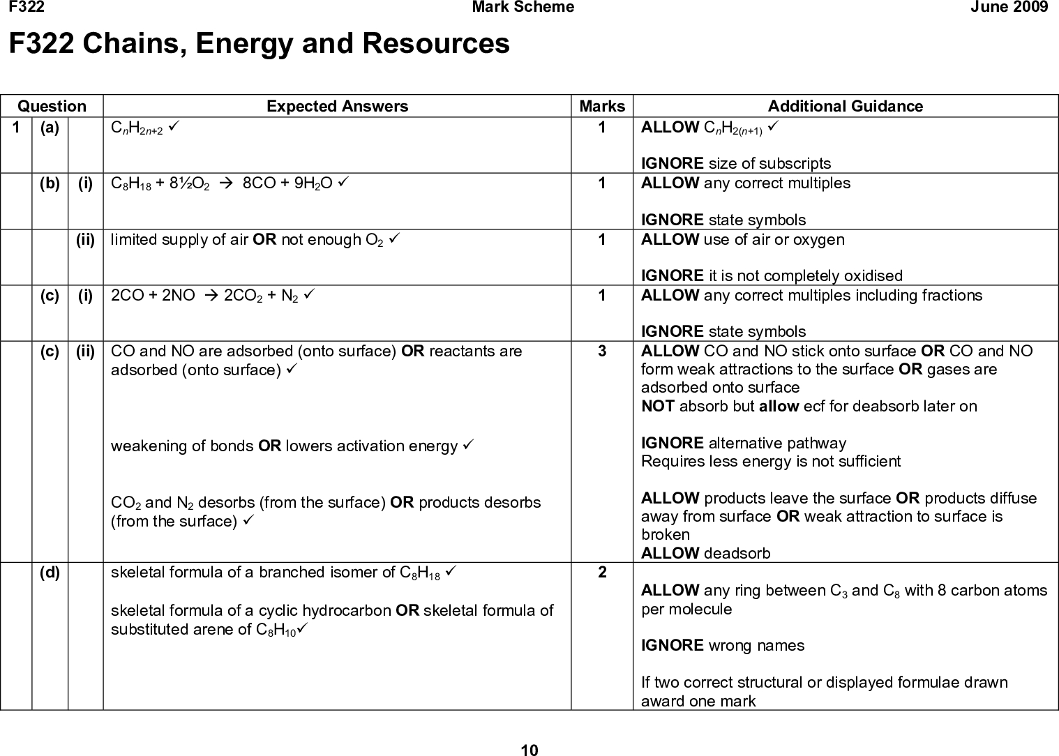 F322 F322 Chains, Energy and Resources Mark Scheme June 2009 Question 1 (a) CnH2n+2 (cid:57) Expected Answers Marks (b) (i) C8H18 + 8O2 (cid:198) 8CO + 9H2O (cid:57) (ii) limited supply of air OR not enough O2 (cid:57) (c) (i) 2CO + 2NO (cid:198) 2CO2 + N2 (cid:57) (c) (ii) CO and NO are adsorbed (onto surface) OR reactants are adsorbed (onto surface) (cid:57) weakening of bonds OR lowers activation energy (cid:57) CO2 and N2 desorbs (from the surface) OR products desorbs (from the surface) (cid:57) (d) skeletal formula of a branched isomer of C8H18 (cid:57) skeletal formula of a cyclic hydrocarbon OR skeletal formula of substituted arene of C8H10(cid:57) 10 Additional Guidance ALLOW CnH2(n+1) (cid:57) IGNORE size of subscripts ALLOW any correct multiples IGNORE state symbols ALLOW use of air or oxygen IGNORE it is not completely oxidised ALLOW any correct multiples including fractions IGNORE state symbols ALLOW CO and NO stick onto surface OR CO and NO form weak attractions to the surface OR gases are adsorbed onto surface NOT absorb but allow ecf for deabsorb later on IGNORE alternative pathway Requires less energy is not sufficient ALLOW products leave the surface OR products diffuse away from surface OR weak attraction to surface is broken ALLOW deadsorb ALLOW any ring between C3 and C8 with 8 carbon atoms per molecule IGNORE wrong names If two correct structural or displayed formulae drawn award one mark<br />  F322 Question (e) Expected Answers Mark Scheme Marks June 2009 Additional Guidance ALLOW the amount of the gas OR abundance of gas ALLOW how much IR it absorbs OR ability to absorb heat IGNORE global warming potential / heat reflected / how much is produced ALLOW how long it stays in the atmosphere ALLOW piped into disused or partially filled oil wells ALLOW stored as a carbonate OR equation to show formation of suitable carbonate from an oxide IGNORE mineral storage IGNORE reforestation 13 Any TWO from: atmospheric concentration (cid:57) ability to abso