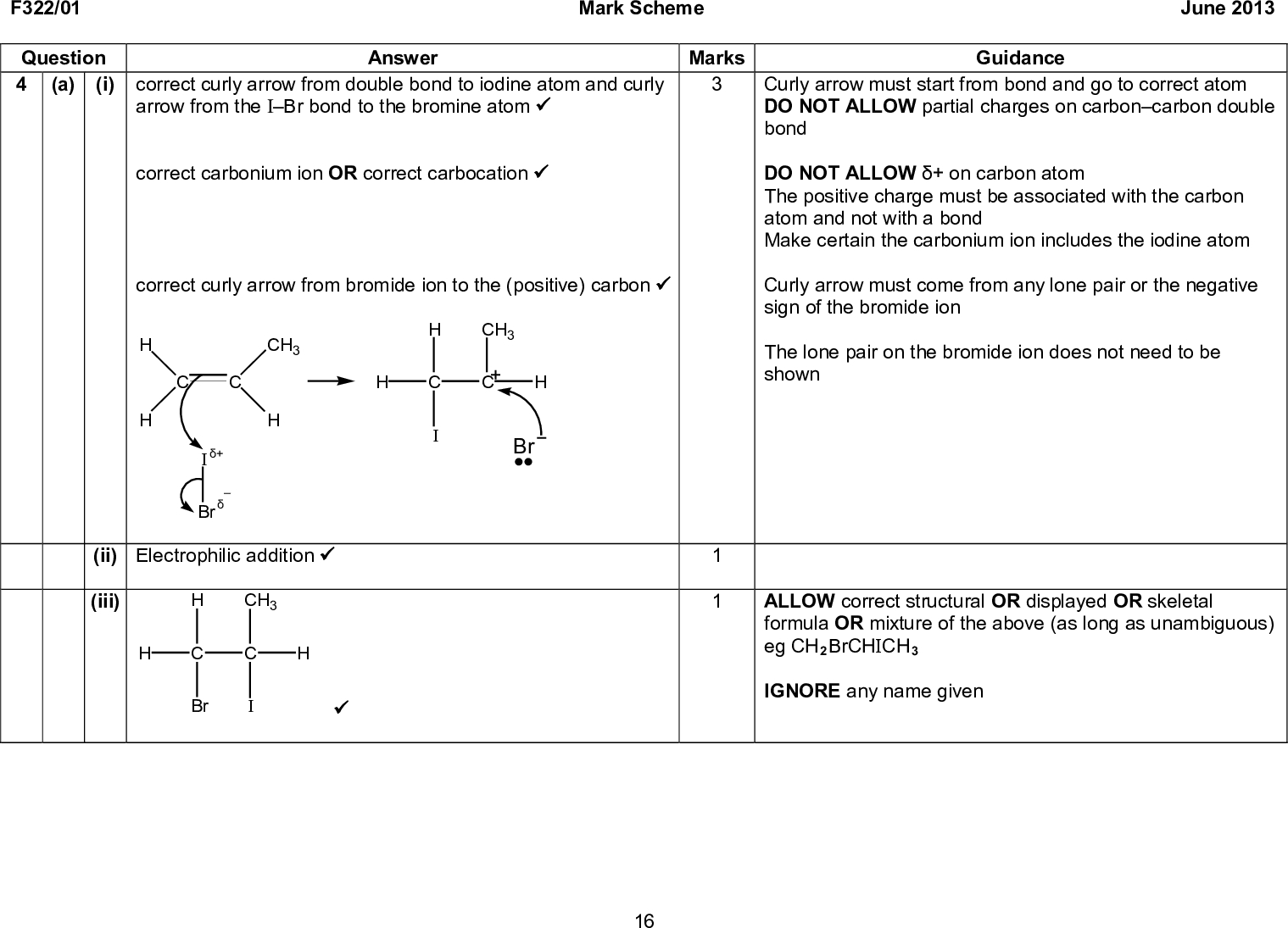 F322/01 Mark Scheme June 2013 Marks Guidance Curly arrow must start from bond and go to correct atom DO NOT ALLOW partial charges on carboncarbon double bond DO NOT ALLOW + on carbon atom The positive charge must be associated with the carbon atom and not with a bond Make certain the carbonium ion includes the iodine atom Curly arrow must come from any lone pair or the negative sign of the bromide ion The lone pair on the bromide ion does not need to be shown ALLOW correct structural OR displayed OR skeletal formula OR mixture of the above (as long as unambiguous) eg CH2BrCHICH3 IGNORE any name given Question 4 (a) Answer (i) correct curly arrow from double bond to iodine atom and curly arrow from the IBr bond to the bromine atom (cid:57) correct carbonium ion OR correct carbocation (cid:57) correct curly arrow from bromide ion to the (positive) carbon (cid:57) H CH3 CH3 +Br (ii) Electrophilic addition (cid:57) (iii) Br CH3 (cid:57) Br 16<br />  F322/01 Mark Scheme June 2013 Question (b) (i) Ultraviolet OR UV (cid:57) Answer (ii) (free) radical substitution (cid:57) (Initiation step) IBr (cid:198) Br + I (cid:57) homolytic fission (cid:57) (Propagation steps) Br + CH4 (cid:198) HBr + CH3 (cid:57) CH3 + IBr (cid:198) CH3I + Br (cid:57) (Termination steps) I + CH3 (cid:198) CH3I OR Br + Br (cid:198) Br2 OR I + I (cid:198) I2 OR Br + CH3 (cid:198) CH3Br OR CH3 + CH3 (cid:198) C2H6 OR I + Br (cid:198) IBr (cid:57) QWC propagation linked to correct equations Br + CH4 (cid:198) HBr + CH3 CH3 + IBr (cid:198) CH3I + Br AND initiation linked to correct equation IBr (cid:198) Br + I (cid:57) Guidance ALLOW high temperature OR 300 oC IGNORE light/radiation DO NOT ALLOW any catalyst Use the SEEN annotation on page 11 if blank or no credit can be given IGNORE any state symbols in equations Radicals do NOT need a single dot IGNORE dots DO NOT ALLOW homolytical fission Heterolytic anywhere in the answer contradicts this mark IGNORE I + CH4 (cid:198) HI + CH3 IGNORE CH3 + IBr (cid: