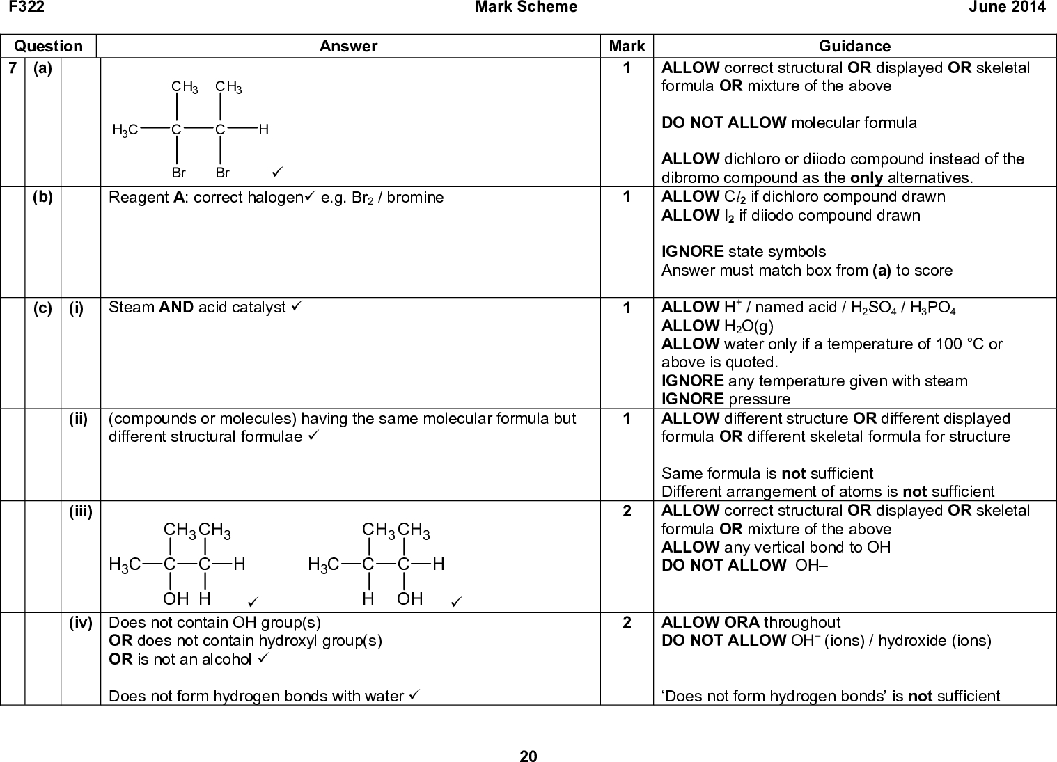 F322 Question 7 (a) Answer CH3 CH3 H3C Br Br (cid:57) (b) Reagent A: correct halogen(cid:57) e.g. Br2 / bromine (c) (i) Steam AND acid catalyst (cid:57) (ii) (compounds or molecules) having the same molecular formula but different structural formulae (cid:57) (iii) CH3 CH3 CH3 C C OH H (iv) Does not contain OH group(s) (cid:57) CH3 CH3 CH3 C C H OH (cid:57) OR does not contain hydroxyl group(s) OR is not an alcohol (cid:57) Does not form hydrogen bonds with water (cid:57) 20 Mark Scheme June 2014 Mark 1 Guidance ALLOW correct structural OR displayed OR skeletal formula OR mixture of the above DO NOT ALLOW molecular formula ALLOW dichloro or diiodo compound instead of the dibromo compound as the only alternatives. ALLOW Cl2 if dichloro compound drawn ALLOW I2 if diiodo compound drawn IGNORE state symbols Answer must match box from (a) to score ALLOW H+ / named acid / H2SO4 / H3PO4 ALLOW H2O(g) ALLOW water only if a temperature of 100 C or above is quoted. IGNORE any temperature given with steam IGNORE pressure ALLOW different structure OR different displayed formula OR different skeletal formula for structure Same formula is not sufficient Different arrangement of atoms is not sufficient ALLOW correct structural OR displayed OR skeletal formula OR mixture of the above ALLOW any vertical bond to OH DO NOT ALLOW OH ALLOW ORA throughout DO NOT ALLOW OH (ions) / hydroxide (ions) Does not form hydrogen bonds is not sufficient<br />  F322 Mark Scheme June 2014 Mark 6 Answer 2- Reagents: Acid/H+ and (potassium or sodium) dichromate/Cr2O7 seen once(cid:57) Observations: Orange to Green OR Orange to Blue(cid:57) Distillation / Distil produces aldehyde/CH3CH2CHO: (cid:57) CH3CH2CH2OH + [O] CH3CH2CHO + H2O (cid:57) Reflux (of propan-1-ol) produces carboxylic acid/CH3CH2COOH(cid:57) CH3CH2CH2OH + 2[O] CH3CH2COOH + H2O (cid:57) Guidance ANNOTATE ANSWER WITH TICKS AND CROSSES ETC ALLOW H2SO4 and K2Cr2O7 ALLOW correct displayed formula OR correct structural formula OR skeletal form