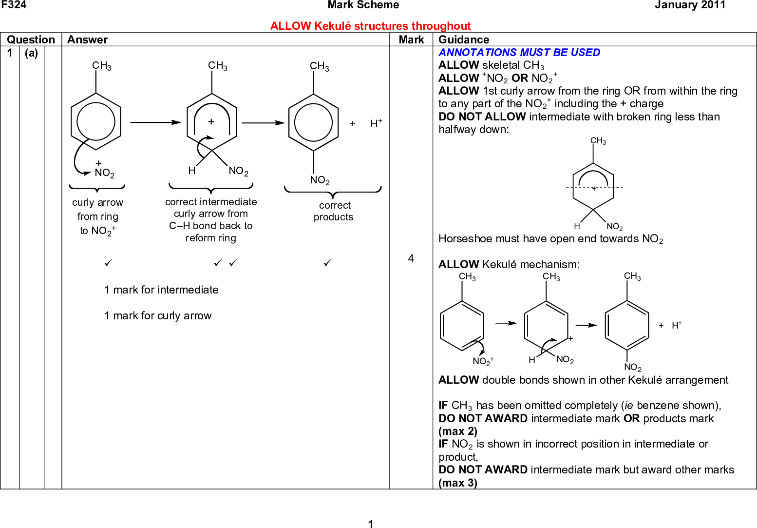 F324 Mark Scheme January 2011 Question Answer 1 (a) CH3 CH3 CH3 ALLOW Kekul structures throughout Mark Guidance ANNOTATIONS MUST BE USED ALLOW skeletal CH3 ALLOW +NO2 OR NO2 ALLOW 1st curly arrow from the ring OR from within the ring to any part of the NO2 DO NOT ALLOW intermediate with broken ring less than halfway down: + including the + charge CH3 Horseshoe must have open end towards NO2 ALLOW Kekul mechanism: NO2 CH3 CH3 CH3 NO2 curly arrow from ring + to NO2 NO2 correct intermediate curly arrow from CH bond back to reform ring H+ NO2 correct products (cid:57) (cid:57) (cid:57) (cid:57) 1 mark for intermediate 1 mark for curly arrow H+ + NO2 + NO2 NO2 ALLOW double bonds shown in other Kekul arrangement IF CH3 has been omitted completely (ie benzene shown), DO NOT AWARD intermediate mark OR products mark (max 2) IF NO2 is shown in incorrect position in intermediate or product, DO NOT AWARD intermediate mark but award other marks (max 3)<br />  F324 Question Answer 1 (b ) O2N CH3 CH3 NO2 NO2 (cid:57) (cid:57) 1st stage isomer: isomer 3 (cid:57) product: CH3 (cid:57) NH2 H2N reagents: Sn AND (conc) HCl (cid:57) equation: CH3 (c) O2N Mark Scheme January 2011 Mark Guidance ALLOW any correct unambiguous structures ALLOW NO2 Note: connectivity is NOT being assessed in this part NO2 ANNOTATIONS MUST BE USED ALLOW structure of isomer 3 shown separately OR in equation ALLOW structure of product shown separately OR in equation ALLOW correct name (3,5-diaminomethylbenzene) IGNORE incorrect name DO NOT ALLOW CH3C6H3(NH2)2 ALLOW Zn + HCl/H2 + metal catalyst/LiAlH4/Na in ethanol IGNORE NaBH4 ALLOW Sn and HCl followed by NaOH DO NOT ALLOW Sn and HCl and NaOH IF isomer 3 OR product are given in equation but not shown previously then credit here Also credit reagents here if shown (eg above arrow) ALLOW correct structural OR displayed OR skeletal formula ALLOW combination of formulae as long as unambiguous CH3 12 [H] NO2 H2N 4 H2O NH2 (cid:57)<br />  Mark Scheme January 2011 Mark 