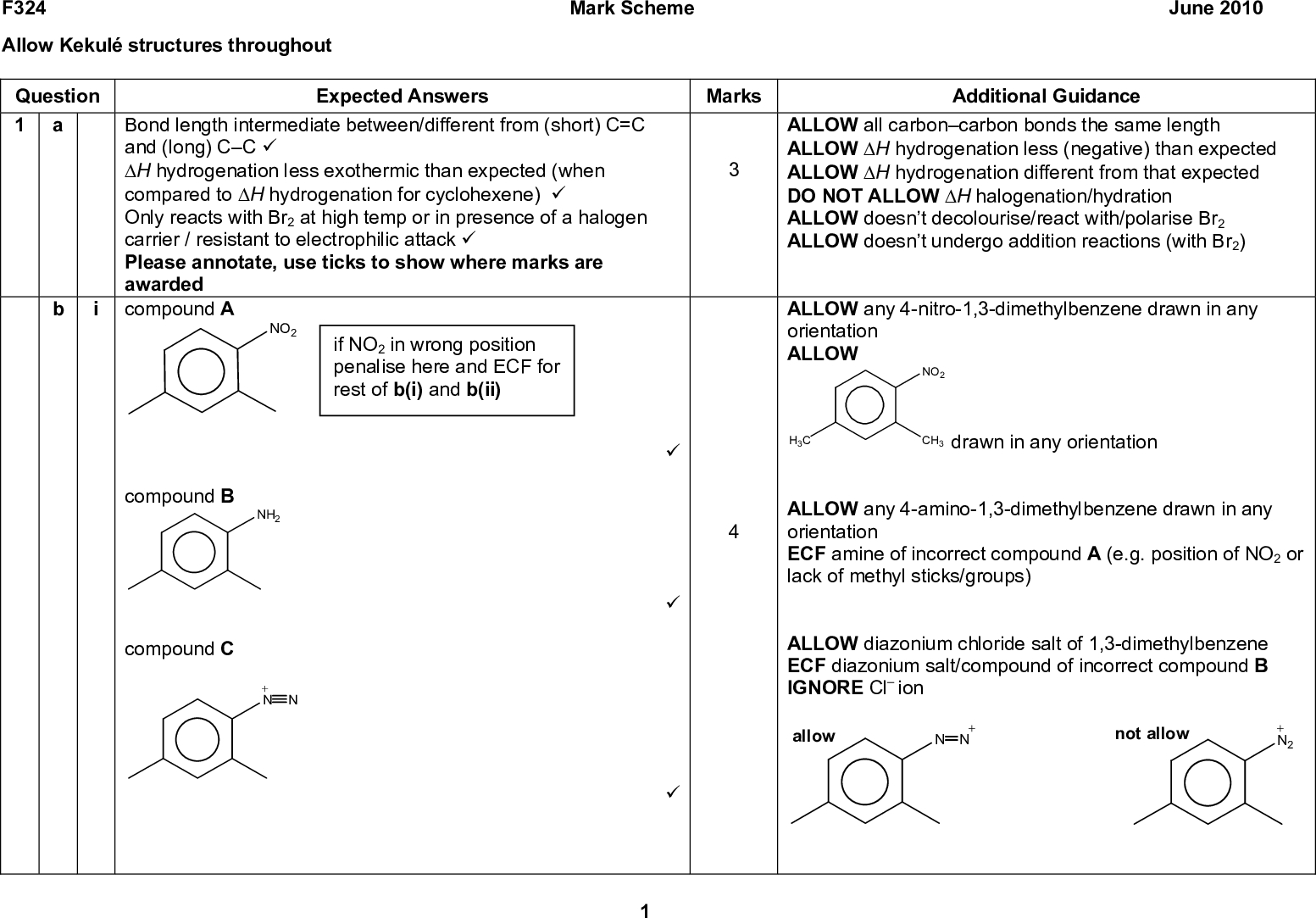 F324 Allow Kekul structures throughout Mark Scheme June 2010 Expected Answers Marks Additional Guidance Question 1 Bond length intermediate between/different from (short) C=C and (long) CC (cid:57) (cid:39)H hydrogenation less exothermic than expected (when compared to (cid:39)H hydrogenation for cyclohexene) (cid:57) Only reacts with Br2 at high temp or in presence of a halogen carrier / resistant to electrophilic attack (cid:57) Please annotate, use ticks to show where marks are awarded compound A NO2 if NO2 in wrong position penalise here and ECF for rest of b(i) and b(ii) compound B NH2 compound C + N N ALLOW all carboncarbon bonds the same length ALLOW (cid:39)H hydrogenation less (negative) than expected ALLOW (cid:39)H hydrogenation different from that expected DO NOT ALLOW (cid:39)H halogenation/hydration ALLOW doesnt decolourise/react with/polarise Br2 ALLOW doesnt undergo addition reactions (with Br2) ALLOW any 4-nitro-1,3-dimethylbenzene drawn in any orientation ALLOW NO2 CH3 drawn in any orientation H3C ALLOW any 4-amino-1,3-dimethylbenzene drawn in any orientation ECF amine of incorrect compound A (e.g. position of NO2 or lack of methyl sticks/groups) ALLOW diazonium chloride salt of 1,3-dimethylbenzene ECF diazonium salt/compound of incorrect compound B IGNORE Cl ion + N N not allow + N2 (cid:57) (cid:57) (cid:57) allow<br />  F324 Question Mark Scheme June 2010 Expected Answers Marks Additional Guidance compound D HO ALLOW if + charge is floating between the two Ns only if it is closer to the correct N allow not allow OH O- ALLOW any of OH (cid:57) OH ALLOW O in place of OH<br />  F324 Question ii If NO2 is in correct position do not penalise even if compound A in b(i) is not in correct position Expected Answers mark 1 HNO3 + 2H2SO4 (cid:111) H3O+ + 2HSO4 mark 4curly arrow from CH bond back to reform (cid:83) ring AND correct products (cid:57)+ NO2 + (cid:57) +NO2 NO2 NO2 + H+ mark 3intermediate with (cid:83) ring broken in the correct place (cid:57) 