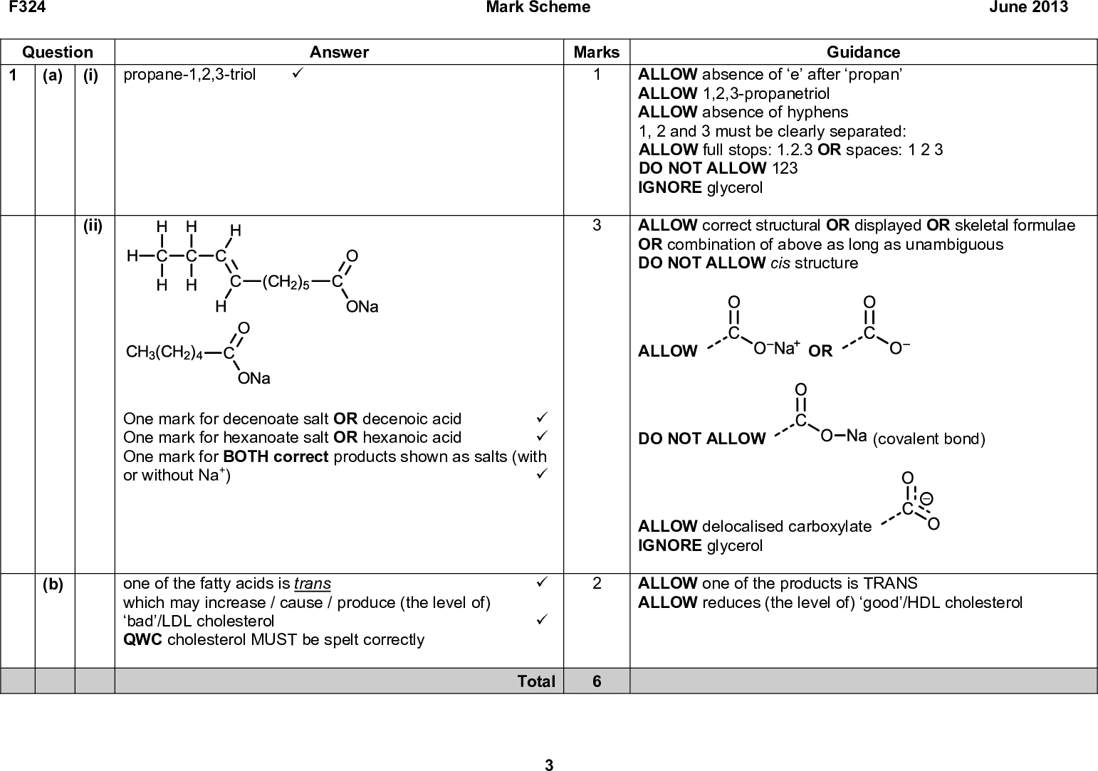 F324 Question (i) (a) (ii) propane-1,2,3-triol (cid:57) Answer Mark Scheme June 2013 Marks Guidance ALLOW absence of e after propan ALLOW 1,2,3-propanetriol ALLOW absence of hyphens 1, 2 and 3 must be clearly separated: ALLOW full stops: 1.2.3 OR spaces: 1 2 3 DO NOT ALLOW 123 IGNORE glycerol ALLOW correct structural OR displayed OR skeletal formulae OR combination of above as long as unambiguous DO NOT ALLOW cis structure One mark for decenoate salt OR decenoic acid (cid:57) One mark for hexanoate salt OR hexanoic acid (cid:57) One mark for BOTH correct products shown as salts (with or without Na+) (cid:57) ALLOW OR DO NOT ALLOW (covalent bond) one of the fatty acids is trans which may increase / cause / produce (the level of) bad/LDL cholesterol QWC cholesterol MUST be spelt correctly (b) ALLOW delocalised carboxylate IGNORE glycerol ALLOW one of the products is TRANS ALLOW reduces (the level of) good/HDL cholesterol (cid:57) (cid:57) Total<br />
