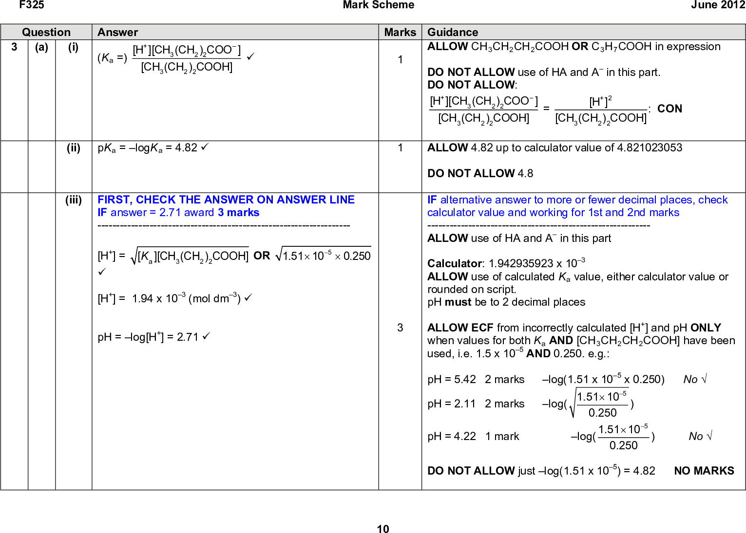 F325 Mark Scheme June 2012 Question (a) (i) Answer (Ka =) [H+][CH3(CH2)2COO ] [CH3(CH2)2COOH] (cid:57) Marks Guidance ALLOW CH3CH2CH2COOH OR C3H7COOH in expression DO NOT ALLOW use of HA and A in this part. DO NOT ALLOW: [H+][CH3(CH2)2COO ] [CH3(CH2)2COOH] [CH3(CH2)2COOH] : CON [H+]2 ALLOW 4.82 up to calculator value of 4.821023053 DO NOT ALLOW 4.8 IF alternative answer to more or fewer decimal places, check calculator value and working for 1st and 2nd marks ------------------------------------------------------------ ALLOW use of HA and A in this part Calculator: 1.942935923 x 103 ALLOW use of calculated Ka value, either calculator value or rounded on script. pH must be to 2 decimal places ALLOW ECF from incorrectly calculated [H+] and pH ONLY when values for both Ka AND [CH3CH2CH2COOH] have been used, i.e. 1.5 x 105 AND 0.250. e.g.: pH = 5.42 2 marks pH = 2.11 2 marks log(1.51 x 105 x 0.250) Nolog( 1.51(cid:117)10(cid:16)5 0.250 ) log( 1.51(cid:117)10(cid:16)5 0.250 pH = 4.22 1 mark DO NOT ALLOW just log(1.51 x 105) = 4.82 NO MARKS ) No(ii) pKa = logKa = 4.82 (cid:57) (iii) FIRST, CHECK THE ANSWER ON ANSWER LINE [Ka][CH3(CH2)2COOH] OR 1.51(cid:117) 10(cid:16)5 (cid:117) 0.250 IF answer = 2.71 award 3 marks -------------------------------------------------------------------- [H+] = (cid:57) [H+] = 1.94 x 103 (mol dm3) (cid:57) pH = log[H+] = 2.71 (cid:57) 10<br />  F325 Mark Scheme June 2012 Marks Guidance 2Mg2+ 2 + 2 CH3(CH2)2COOH (cid:127)(cid:111) IGNORE state symbols ALLOW Mg + 2 CH3(CH2)2COOH (cid:127)(cid:111) 2CH3(CH2)2COO + Mg2+ + H2 DO NOT ALLOW on RHS: (CH3(CH2)2COO Ions must be shown separately IGNORE state symbols ALLOW CO3 2 CH3(CH2)2COO + H2O + CO2 ALLOW as product H2CO3 ALLOW names throughout ALLOW sodium salt of butanoic acid ALLOW CH3(CH2 2COOH + NaOH (cid:111) CH3(CH2)2COONa + H2O DO NOT ALLOW just forms a sal i.e. identity of product is required t/conjugate base Question Answer (b) (i) Mg + 2H+ (cid:127)(cid:111) Mg2+ + H2 (cid:57) (ii) CO3 2 + 2