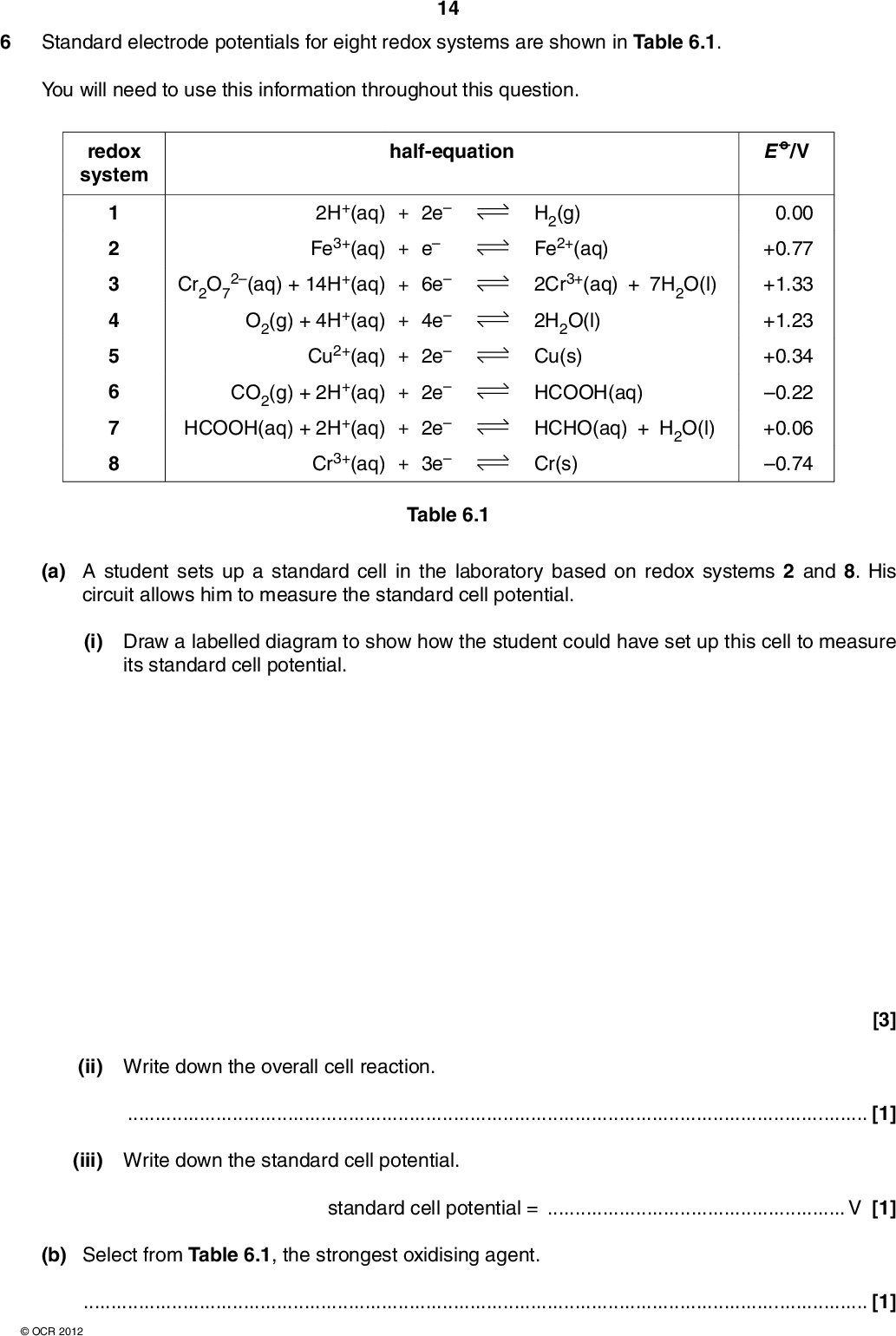 6 Standard electrode potentials for eight redox systems are shown in Table 6.1. You will need to use this information throughout this question. 14 redox system half-equation 1 2 3 4 5 6 7 8 Cr2O7 2H+(aq) + 2e Fe3+(aq) + e 2(aq) + 14H+(aq) + 6e O2(g) + 4H+(aq) + 4e Cu2+(aq) + 2e CO2(g) + 2H+(aq) + 2e HCOOH(aq) + 2H+(aq) + 2e Cr3+(aq) + 3e H2(g) Fe2+(aq) 2Cr3+(aq) + 7H2O(l) 2H2O(l) Cu(s) HCOOH(aq) HCHO(aq) + H2O(l) Cr(s) E o / V 0.00 +0.77 +1.33 +1.23 +0.34 0.22 +0.06 0.74 Table 6.1 (a) A student sets up a standard cell in the laboratory based on redox systems 2 and 8. His circuit allows him to measure the standard cell potential. (i) Draw a labelled diagram to show how the student could have set up this cell to measure its standard cell potential. (ii) Write down the overall cell reaction.[1] (iii) Write down the standard cell potential. [3] standard cell potential =V [1] (b) Select from Table 6.1, the strongest oxidising agent.[1]OCR 2012<br />  15 (c) Using the redox systems in Table 6.1, construct an equation for a reaction between acidified dichromate(VI) ions and methanoic acid, HCOOH. Rather than using [O] or [H], your equation must show the actual reactants and products. [2] (d) A student added some chromium metal to an acidified solution containing copper(II) ions. A reaction took place. The student concluded that chromium is more reactive than copper. (i) Explain, in terms of their electrode potentials, why chromium is more reactive than copper in this reaction.[2] (ii) When this experiment was carried out, the student observed some bubbles of a gas. Suggest an explanation for this observation.[1] (e) Methanoic acid, HCOOH, has the common name of formic acid. Direct-Formic Acid Fuel Cells (DFAFCs) are being developed for use in small, portable electronics such as phones and laptop computers. In this fuel cell, methanoic acid (the fuel) reacts with oxygen to generate a cell potential. (i) Predict the standard cell potential of a DFAFC. standard cell potential